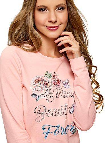 oodji Ultra Damen Baumwoll-Sweatshirt mit Druck Rosa (4070P)