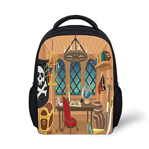 Kids School Backpack Pirate,Cabin a Pirate Captain Parrot in Cage Jolly Roger Treasure Chest Liquor Barrels,Multicolor Plain Bookbag Travel Daypack -