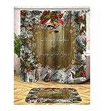 AieniD Badezimmer Deko Vintage Weihnachten Holzmuster Mehrfarbig Bad Vorhang Size:180X200CM