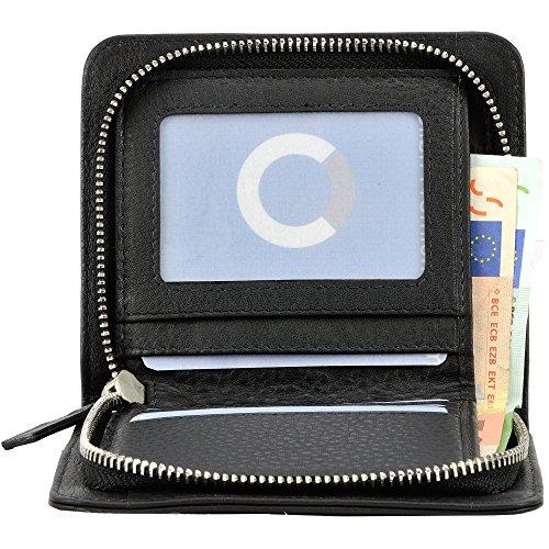 Echt Leder Geldbörse mit Reissverschluss Portemonnaie Brieftasche Geldbeutel für Herren und Damen schwarz (43) Schwarz