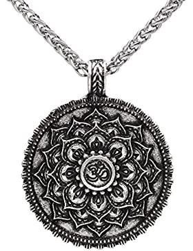 Kette mit Anhänger im Vintage-Stil, altsilber, buddhistisches Symbol, Om, Lotus-Blüte, Zen, Yoga, Amulett, religiöser...