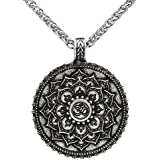 Vintage antiguo Colgante de plata OM mandala budista Zen Yoga de flor de loto amuleto religiosas joyería cadena