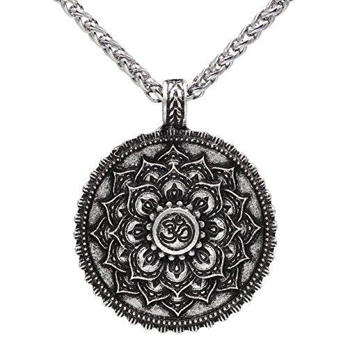 Vintage argento antico OM buddista mandala ciondolo collana fiore di loto Zen yoga amuleto religioso gioielli catena