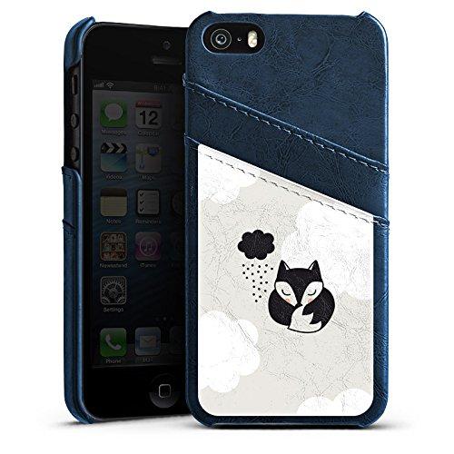 Apple iPhone 4 Housse Étui Silicone Coque Protection Renard Dormir Nuage Étui en cuir bleu marine