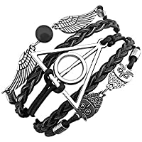 Yellow Chimes Harry Potter Deathly Hallows Snitch Ball Unisex Leather Bracelet for Girls and Boys