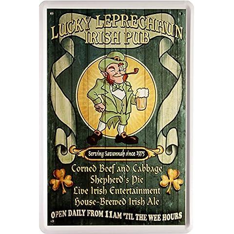 Targa Irish Pub Lucky Leprechaun 20x 30cm pubblicità retrò lamiera 1218 - Irish Ale