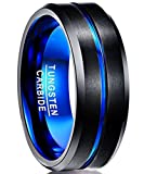 NUNCAD Men's 8mm Tungsten Carbide Ring with Polished Groove Matte Finish Beveled Edge Wedding Band Size J½-Z+5
