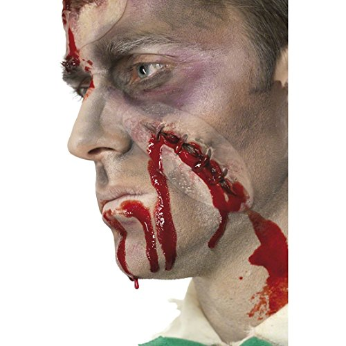 Amakando Zombie Wunde mit Blut Halloween Make Up mit Blut Horror Narbe Grusel Theater Schminke Kunstwunde Verletzung Blutige Faschingsschminke