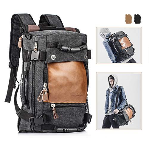Overmont 35l zaino/borsa con tracolla/borsa a mano, zaino vintage unisex, zaino per pc portatili, zaino per scuola, borsa di viaggio, all'aria apertaì - multifunzionale,nero