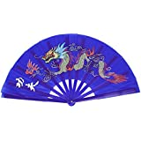 SODIAL(R) Plastic Frame Dragon Printed Sports Folding Hand Fan Royal Blue