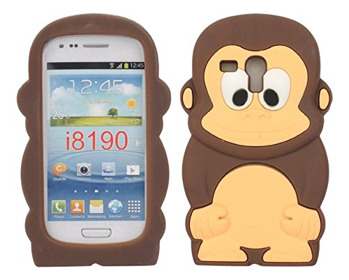 SKS distribuzione pt-8whx-7 F9u Brown Cheeky Monkey Custodia Morbida in Silicone per Samsung Galaxy S3 SIII Mini i8190
