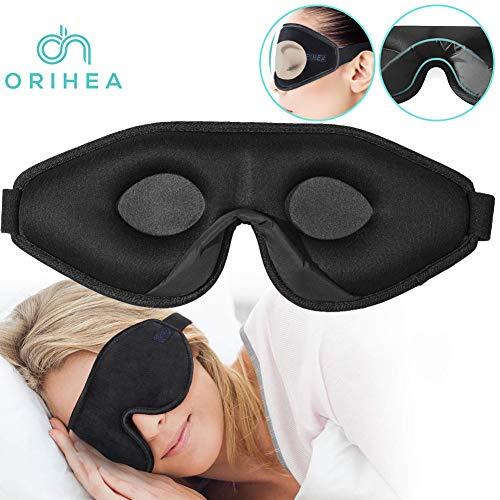 OriHea 3D Schlafmaske Damen und Herren,Premium Schlafbrille mit Innovativem verstecktem Nasenflügel-Design, Blockiert Licht 100{e3469ef6636b858cd2e9df13082bcb412ead07d86798749051b329768315f1f0} Augenmaske, verstellbare Premium Seiden Schaum Augenbinde