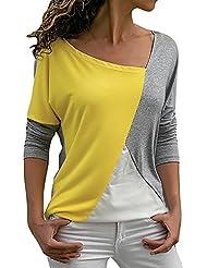 Blusa Moda Patchwork Casual para Mujer Sudadera con Capucha Tallas Grandes Color Block Tallas Grandes O