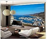 Décoration pour la maison 3D papier peint fait sur commande méditerranéen de paysage de yacht de golfe 3D Papier Peint 3D Faux Cuir Vinyle Mural-350cm×256cm...