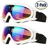 Gafas de esquí para niños hombres y mujeres Skate gafas con 100% protección UV 400lentes antirreflejos de resistencia al viento y a prueba de polvo aislamiento Pack de 2fabricado por cooloo, white/white