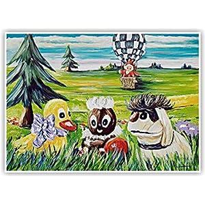 """""""Sandmännchen mit Pittiplatsch und Schnatterinchen und Moppi"""" – liebevoll gestalteter Kunstdruck von einem Original Acrybild von Silke Ludewig – Dresden (Sandmann Bild)"""