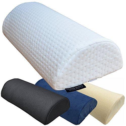 Medipaq Half Moon Memory Foam Cushion Pillow, White Luxury Jacquard
