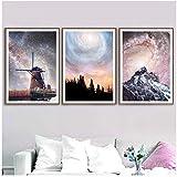 Moulin à vent Fantastique Ciel Étoilé Mur Art Toile Peinture Nordique Affiches Et...