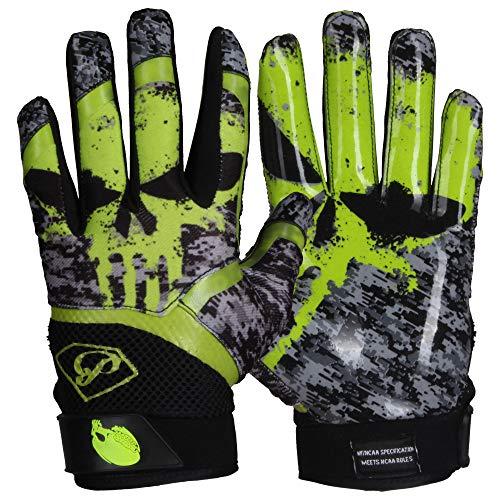 Prostyle Alien Skull American Football Handschuhe - neon grün Gr. L