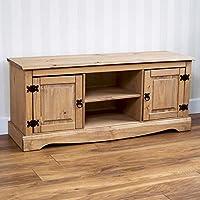 Vida Designs Corona TV Stand Flat Screen Unit, 2 Door 1 Shelf, TV Entertainment Stand, Solid Pine Wood