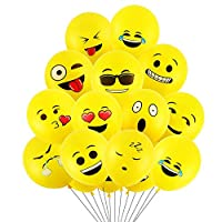 Cotek Party Balloons, 12 inches 50 Pcs Latex Emoji Balloons with 12 Different Funny Emoji for Party, Wedding, Birthday, Festival Decoration