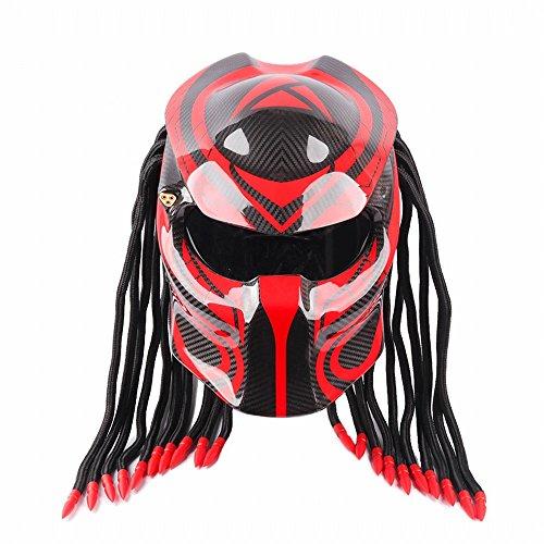 GUO Casco da Motociclista Predator Warrior in Fibra di Carbonio,B,L