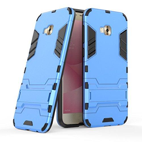 MaiJin Hülle für ASUS ZenFone 4 Selfie Pro ZD552KL (5,5 Zoll) 2 in 1 Hybrid Dual Layer Shell Armor Schutzhülle mit Standfunktion Case (Blau)