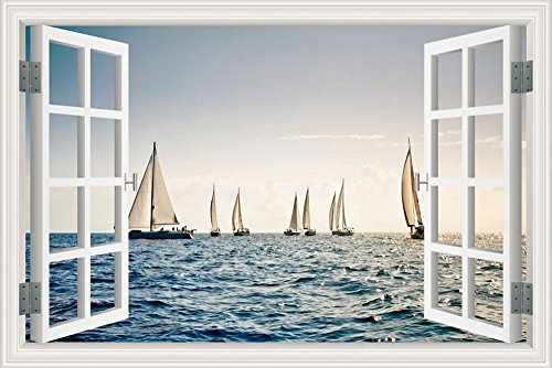 3d-window-view-wall-sticker-white-sailing-boats-seascape-wallpaper-vinyl-decal-32x48