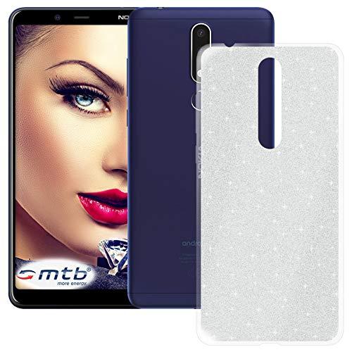 mtb more energy® TPU Hülle Shine für Nokia 3.1 Plus   Nokia 3.1+ (6.0'')   Silber   Glitzer-Effekt   flexibel   Schutzhülle Case Cover Tasche