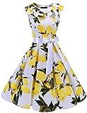 bridesmay Damen 1950er Vintage Retro Rockabilly Ärmellos Sommerkleid Cocktailkleider Partykleid White Lemon L