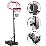 Popamazing 1.9-2.5M Adjustable Portable Basketball Stand Backboard Hoop Net w/Wheel Youth Kids Fun(Birthday Gift)