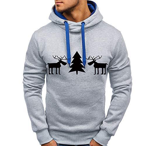 OSYARD Christmas Sweater Pullover Herren, Männer Herbst Winter Strickpullover Top Elch Printing Hooded Sweatshirt Lange Hülsen Outwear Bluse Klassische Kapuzenpullover mit Tasche (L, Grau)
