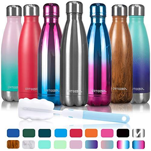 arteesol Edelstahl Trinkflasche,350/500/750ml Wasserflasche,Doppelwandige Auslaufsichere Thermosflasche Water