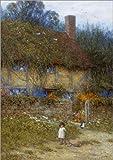 Posterlounge Leinwandbild 120 x 170 cm: Bauernhaus bei Godalming, Surrey von Helen Allingham/Bridgeman Images - fertiges Wandbild, Bild auf Keilrahmen, Fertigbild auf echter Leinwand, Leinwanddruck