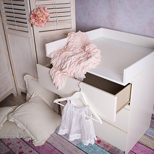 Neu, runde Kanten! Wickelaufsatz für IKEA Malm, Brusali, Mandal Kommode mit runden Kanten. In weiß!