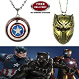 (2 Pc AVENGERS SET) BLACK PANTHER TRENDY GOLD COLOUR & CAPTAIN AMERICA REVOLVING IMPORTED METAL PENDANTS WITH CHAIN. LADY HAWK DESIGNER SERIES 2018. ❤ ALSO CHECK FOR LATEST ARRIVALS - NOW ON SALE IN AMAZON - RINGS - KEYCHAINS - NECKLACE - BRACE