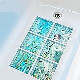 YINGER 6 Stück Deko Design Kreativ Anti Rutsch Sticker für Sicherheit Kinder für Badewanne, je Stück 15×15cm , 2