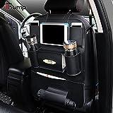 #7: Thump Car Auto Seat Back Multi Pocket Organizer PU Leather with iPad Mini Holder Backseat Organizer Hanger Accessory Universal Use as Car for Magazines, Tissue Box, Storage Bottles (Black, Pack of 1)