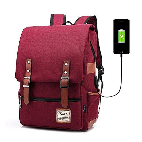 FEWOFJ Zaini Casual, USB Zaino per Computer Portatile da 15.6' Zaino Porta pc per università o Scuola Backpack Uomo Business - Vino