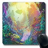 Gsgdae Mauspad für Aquarien, Unterwasserkorallenriffe, Fische, Illustration, Natur-Stil, blaues Szenenriff, Tropische längliche Form, 20 x 24 cm, länglich, Gaming Mauspad, rutschfest