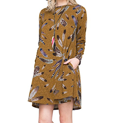 Femmes automne robe pull - hibote Casual Pull manches longues A-ligne jupe plage Mini robes courtes avec 2 poches Jaune