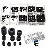 AUAUDATE 200 Piezas Negro Allen Cabeza Socket Hex Configurar Grub Tornillos M3-M8