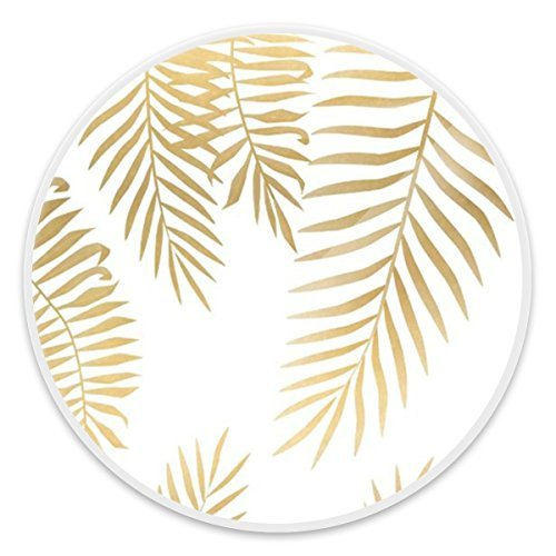 Cool Multi-Function Cell Phone Holder, Popular Expanding Stand Socket for all Smartphones, Kindle, iPad, Tablet Devices - Gold Palm Leaves White