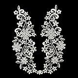 Toruiwa Patches Bestickte Aufnäher Blume Zum Aufbügeln Nähen Patch Sticker Applique Badge für Kleid Hut Schuhe Jeans DIY Kostüm Schmücken 28*9cm 1 Paar (Weiß)