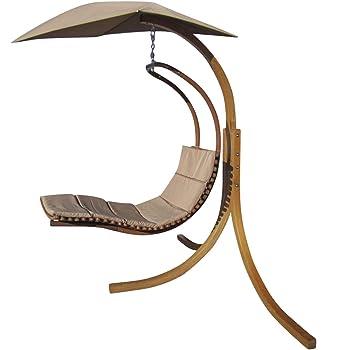 Design Hängeliege NAVASSA mit Gestell aus Holz Lärche komplett mit Hängeliege und Dach von AS-S, Farbe:Braun