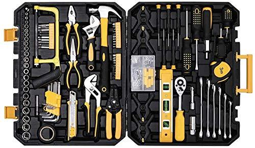 Juego de herramientas mecánicas,  198 piezas,  juego de herramientas domésticas con caja de herramientas
