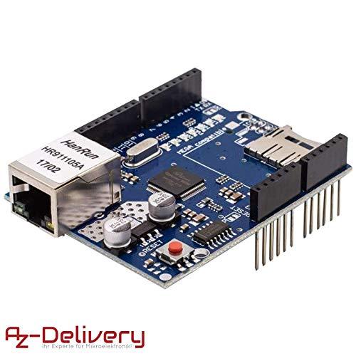AZDelivery ⭐⭐⭐⭐⭐ Ethernet Shield W5100 con Slot per Schede MicroSD per Arduino Uno R3 con eBook Gratuito!