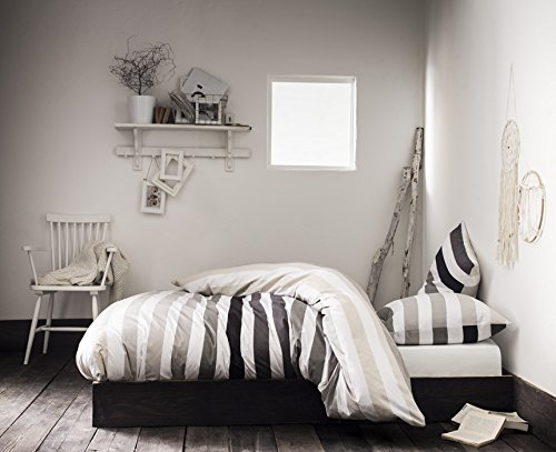 VANCOUVER Beige - Parure de lit pour 2 personnes : Housse de couette 260x240 cm + Taies d'oreiller 63x63 cm