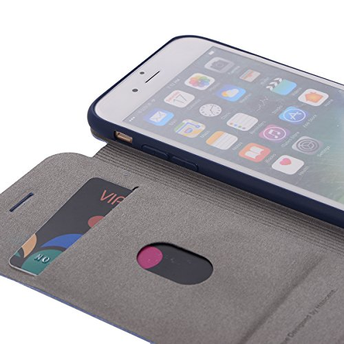 DBIT iphone 8 / iphone 7 Coque - Cuir Microfibre PU Leather Flip Wallet Etui - TPU Cover Protection Shell Housse Case pour iphone 8 / iphone 7,Rouge Bleu