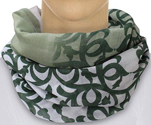 XXL Damen Schal leichter Schlauchschal Viele Farben (Grün/Beige)